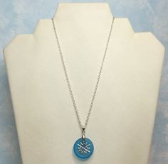 Snow Flake Necklace: Snow Flake on Blue by CrystalinasCreations
