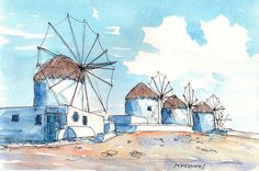 Titel: Mykonos Wind Mills This is an archival quality print from my original pen and watercolor painting. Printed on high quality archival paper