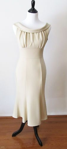 New 1940's Retro Style Stop Staring Beige Calista Fitted Dress | eBay