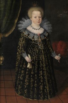 """""""1627. Portrait of Christina, born in 1626, wearing princess crown and long, low-cut brocade dress.""""  hardly makes sense; if a child, she's not an infant. Museum caption reads, """"""""Painting, portrait. Queen Christina (crossed out), unknown girl, oil on canvas. Text: """"ANO 1627"""". Portrait of Christina, born in 1626, wearing princess crown and long, low-cut brocade dress. Profiled, gilt wood frame."""""""