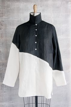 Long Shibori Blouse in Yin Yang Color Block