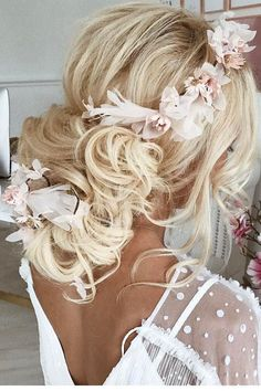 bridal hairstyles updo for middle length hair with gentle-flower accessories ulyanaaster