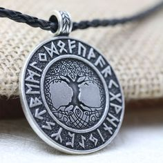 Nordic Vikings The Tree of Life Runes Talisman Amulet Necklace