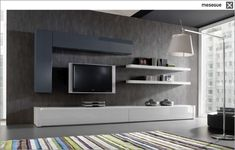 contemporary lacquered TV wall unit