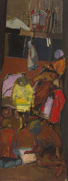 Shipbuilder's Street, c. 1951, OIl on canvas, Joan Eardley - The Scottish Gallery, Edinburgh - Contemporary Art Since 1842