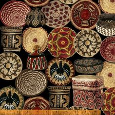 PAINTED DESERT BASKETS in Terracotta - Painted Desert collection by Whistler Studios - Cotton Quilt Fabric - by the Yard