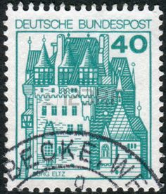 german castle stamps: GERMANY - CIRCA 1977: Postage stamp printed in Germany, shows a medieval castle Eltz, circa 1977