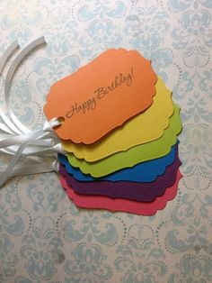 Birthday Brights Gift Tags - Set of 6 - by BellaJStyle on madeit