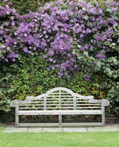 Lutyens Bench at the head of the Rose Garden at Sissinghurst Castle Garden, with Clematis 'Perle d'Azur' at its best, July Outdoor Garden Bench, Garden Seating, Outdoor Gardens, Garden Benches, Clematis, Sissinghurst Garden, Vita Sackville West, Parcs, Gaudi