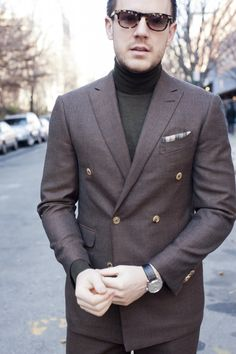 If you are going to wear a double-breasted brown jacket, do it a favor. Wear a turtle-neck.