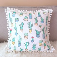 Cactus Pillow Decorative Pillow Cover Handpainted Cactus by Rizkie