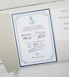 Anchor Wedding Invitation - Nautical Pocket Beach Tropical Destination Blue Ivory.  Purchase this listing for a Sample.. $7.50, via Etsy.