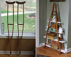 Turning old crutches into shelving