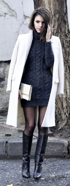 White coat and sweater dress with pantyhose and boots ♥✤ | Keep the Glamour | BeStayBeautiful