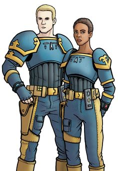 "Companion sketch #20: 30th Century Earth ""Ajudicators"" Chris Cwej and Roz Forrester."