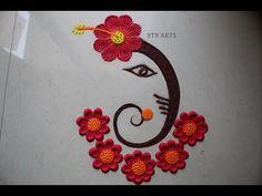 Easy Trick Ganpati Rangoli Design with Bottle Cap and Thin Stick by ARTS Simple Rangoli Border Designs, Easy Rangoli Designs Diwali, Rangoli Simple, Rangoli Designs Latest, Rangoli Designs Flower, Free Hand Rangoli Design, Small Rangoli Design, Rangoli Patterns, Colorful Rangoli Designs