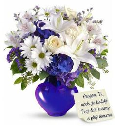 Blue flowers add a cool and calm beauty to any floral arrangement and occasion. Get your blue bouquet hand-arranged and hand-delivered by a local florist. New Baby Flowers, Love Flowers, Fresh Flowers, White Flowers, Send Flowers, White Roses, Church Wedding Flowers, Funeral Flowers, Wedding Bouquets