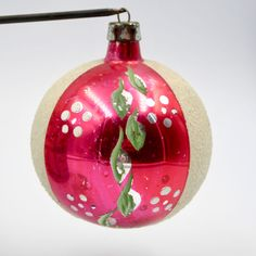 Vtg Silvered Blown Glass Christmas Ornament White Mica Paint Pink Section Poland