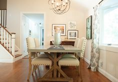 Modern farmhouse dining room. Industrial decor and splashes of color.
