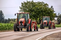 Two tractors on a road just outside of Stayton Oregon