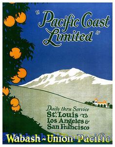 Vintage Pacific Coast Limited travel poster.