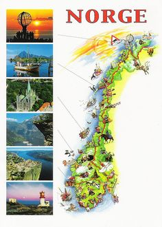 Map postcard from Norway Norway Map, Norway Travel, Visit Norway, Trondheim, Thinking Day, Arctic Circle, Disney Cruise, Amazing Nature, Places To See