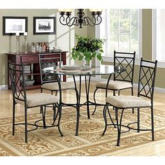 5Piece Glass Top Metal Table And Chairs Dining Set For Kitchen Breakfast Nook  #Mainstays #Contemporary