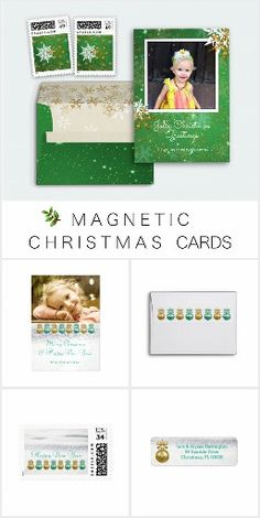 Magnetic Christmas Cards Magnetic Christmas greeting cards. Send photo greetings on magnetic cards and add your personal message and signature. We have traditional and tropical themes, in many sizes. **Envelopes sold separately!