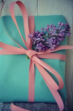 robin's egg blue wrap w/ pink bow