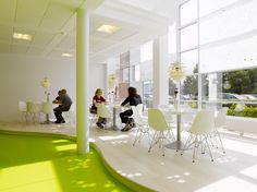Wonderful White Green Wood Glass Unique Design Cool Modern Office Round Table Chairs Wall Glass Pendant Lamp Green Flooring At House With Office Space Design And Unique Desks, Awesome Design Cool Work Spaces Ideas: Furniture, Interior, Office Office Space Design, Workplace Design, Office Interior Design, Office Interiors, Office Spaces, Office Workspace, Work Spaces, Office Chairs, Office Furniture