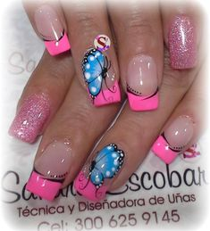 Toe Nail Designs, Acrylic Nail Designs, Gorgeous Nails, Pretty Nails, Bright Colored Nails, Mobile Nails, Peach Nails, Butterfly Nail, Floral Nail Art