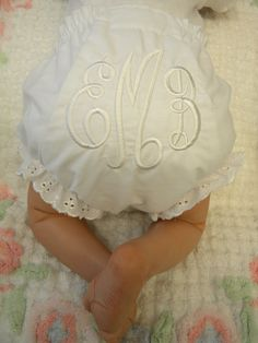 Monogrammed diaper cover ( I LOVE the white on white monogram!!)