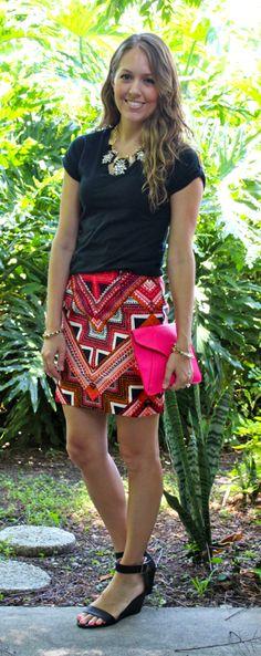 Target Merona aztec skirt // J's Everyday Fashion