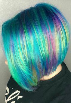 2018 Trend Short Pixie Cuts for Fine Hair 2018 Trend Short Pixie Cuts für feines Haar Short Rainbow Hair, Short Dyed Hair, Pelo Multicolor, Galaxy Hair, Bright Hair, Colorful Hair, Rainbow Hair Colors, Multicolored Hair, Mermaid Hair