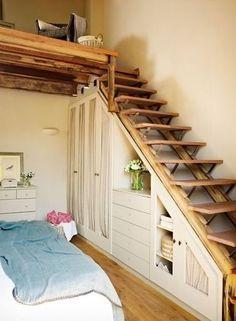 Tiny house, storage under stairs
