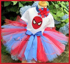 SpidermanParty Outfit Theme PartyBirthday Party Tutu by Nanastutus, $64.00