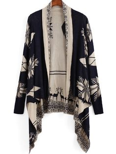 Shop Navy Long Sleeve Deer Print Cardigan online. SheIn offers Navy Long Sleeve Deer Print Cardigan & more to fit your fashionable needs.