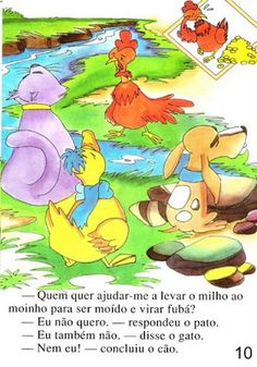 Página 10 do livro A GALINHA RUIVA Maine Coon, Winnie The Pooh, Disney Characters, Fictional Characters, Kid Books, Story Books, Feelings Activities, Traditional Tales, Art Classroom