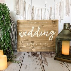 Wooden Wedding Signs, Rustic Signs, Wood Signs, Welcome To Our Wedding, Wedding In The Woods, Wedding Day, Wedding Themes, Wedding Decorations, Country Barn Weddings