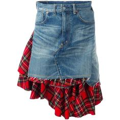 Junya Watanabe Comme Des plaid inset denim skirt ($1,214) ❤ liked on Polyvore featuring skirts, blue, blue plaid skirt, plaid skirt, tartan skirt, blue print skirt and blue tartan skirt