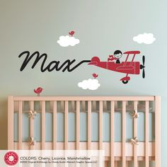 Skywriter Boy Airplane - Removable Vinyl Wall Decals, Wall Stickers, Wall Art, Wall Graphics for Nursery, Baby, Kids