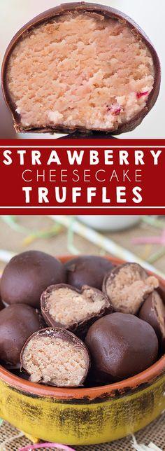 Strawberry Cheesecake Truffles I Cheesecake I Candy I Cream Cheese I Dessert #truffles #dessert #cheesecake