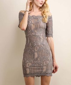 Look at this Soiéblu French Gray Lace Off-Shoulder Dress on #zulily today!