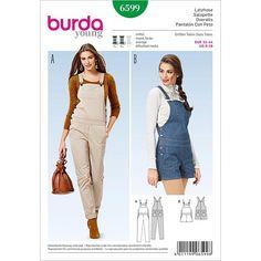 Burda Style Pattern 6599 Overall pants & shorts Burda Sewing Patterns, Simplicity Sewing Patterns, Clothing Patterns, Dress Patterns, Sewing Clothes, Diy Clothes, Ladies Dungarees, Jumpsuit Pattern, Pants For Women
