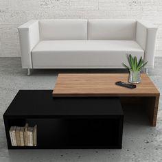Table basse modulable Noir/Noyer L90xl45/80xH33cm JAZZ. Flexibelt i storlek. Kostar EUR 299. Kolla de andra bilderna på länken också. Man kan variera de två delarna o ställa dem på olika sätt.