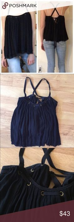 New Free People Strappy Black Lace Up Top ⚜️I love receiving offers through the offer button!⚜️ Brand new condition, as seen in pictures! Fast same or next day shipping!📨 Open to offers but I don't negotiate in the comments so please use the offer button😊 Free People Tops
