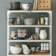 White washed wood and metal shelves - Detailed View
