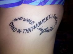 Tattoo #2. Favorite quote from my favorite book, The Perks of Being a Wallflower. Done at Defiance Tattoos in Kent, OH.