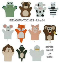 Moldes marionetas de fieltro Glove Puppets, Felt Puppets, Hand Puppets, Homemade Puppets, Finger Puppet Patterns, Sensory Book, Operation Christmas Child, Crafty Craft, Felt Animals