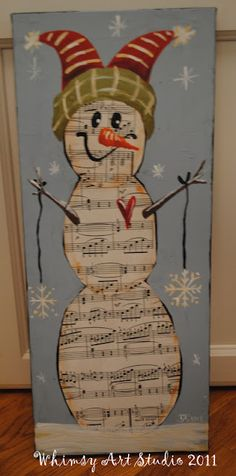 snowman and sheet music-